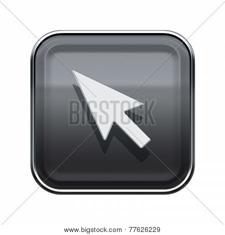 Cursor Icon Glossy Grey, Isolated On White Background