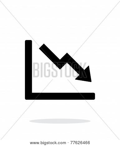 Chart down icon on white background.