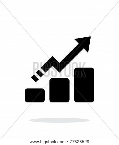 Line chart up icon on white background.