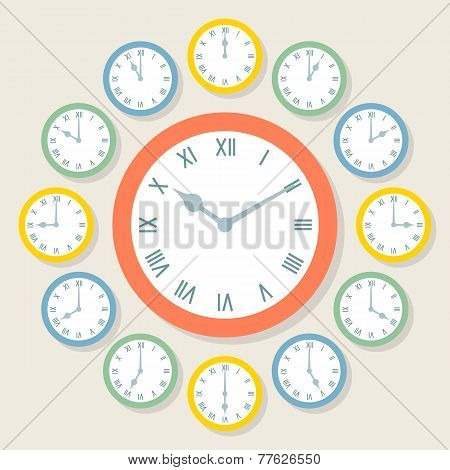 Retro Vector Roman Numeral Clocks Showing All 12 Hours