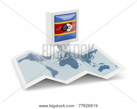 Square Pin With Flag Of Swaziland On The Map