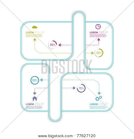 Flat display with crossed and dotted curved path intersecting re