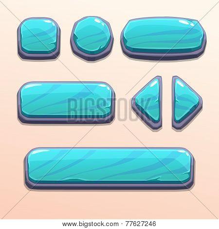 Set of cartoon blue stone buttons