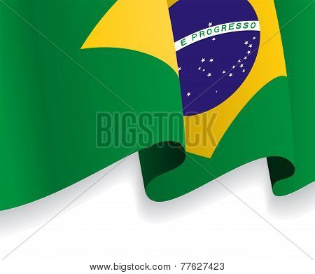 Background with waving Brazilian Flag. Vector