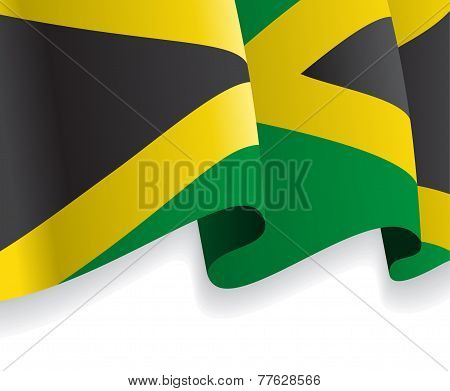 Background with waving Jamaican Flag. Vector