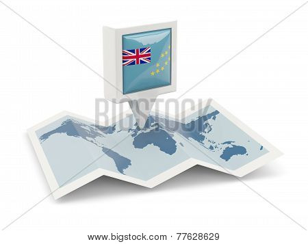 Square Pin With Flag Of Tuvalu On The Map