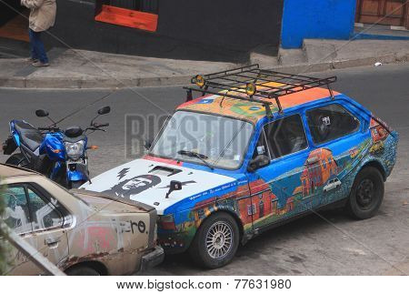 interesting painted car in Valparaiso