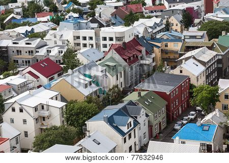Bird View Of Downtown Reykjavik