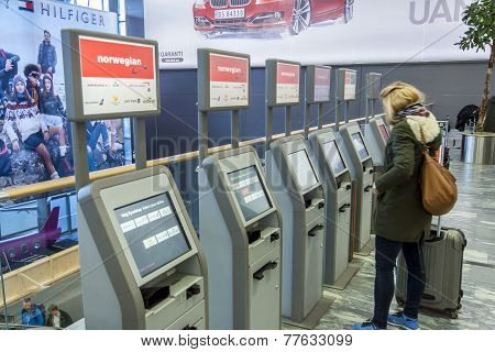 Check In Machine At Oslo Gardermoen International Airport