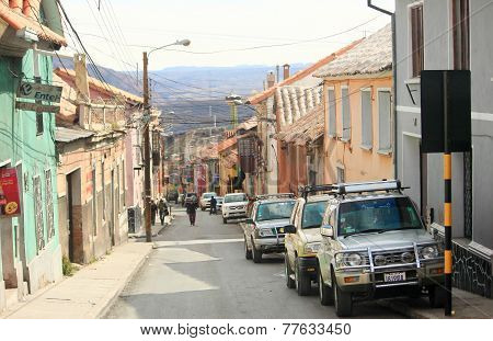 narrow street with slope in Potosi