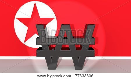 North Korean Won Symbol In Spotlight