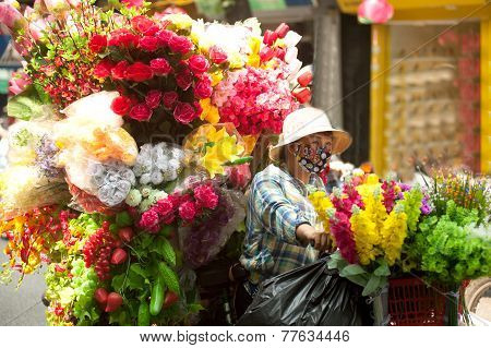 Flowers Street Vendor At Hanoi City,Vietnam.