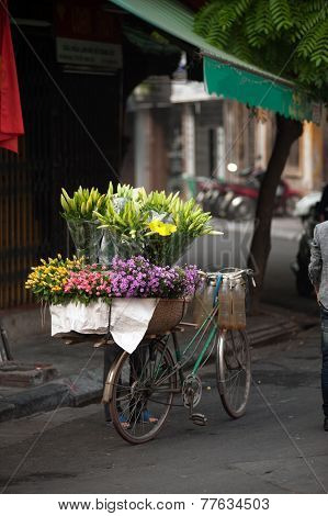 Flower street vendors in Hanoi city,Vietnam.