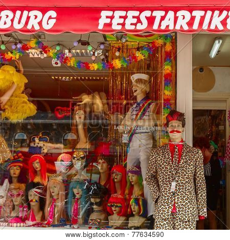 Storefront Clothing, Wigs And Accessories With Gay Trappings During The Annual Amsterdam Gay Pride 2