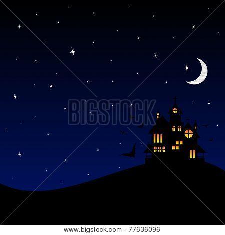 Halloween castle at night