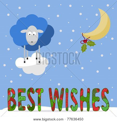 Funny Winter Holiday Background With Best Wishes And Cartoon Sheep, The Symbol Of The New Year Of Th