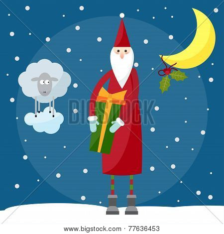 Funny Cartoon Picture For Use In Design On Winter Holiday Greeting Card With Santa Claus And Lamb, T