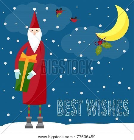 Funny bright winter holidays card background with hand-drawing best wishes and Santa