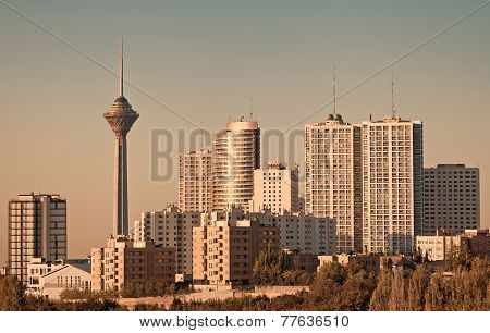 Milad Tower And Skyscrapers In Tehran Skyline
