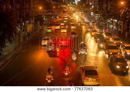 BANGKOK, THAILAND - DEC 5, 2014: Rush hour in city centre. Although Bangkok's canals historically served as a major mode of transport, they have long since been surpassed in importance by land traffic