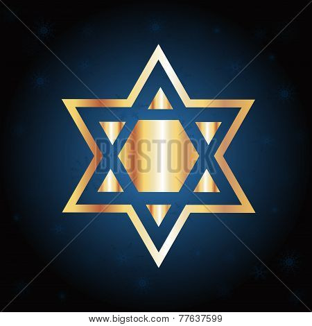 Hanukkah Gold Star Over A Blue Background