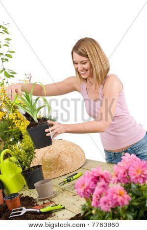 Gardening - Smiling Woman Holding Flower Pot