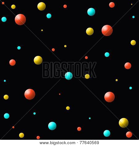 Orange-Blue-Yellow Balls in Space