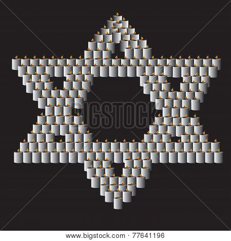 Star Of David Made Of Lit Candles Over Black