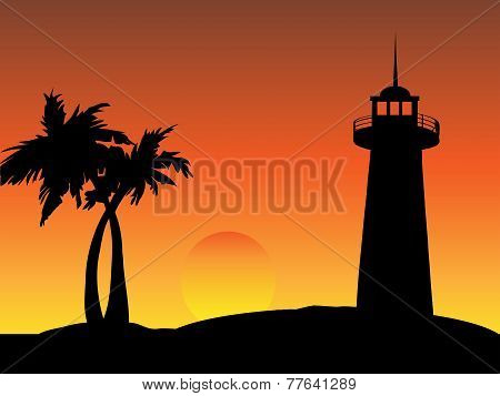 Lighthouse on a Beach with Palm Trees at Sunset