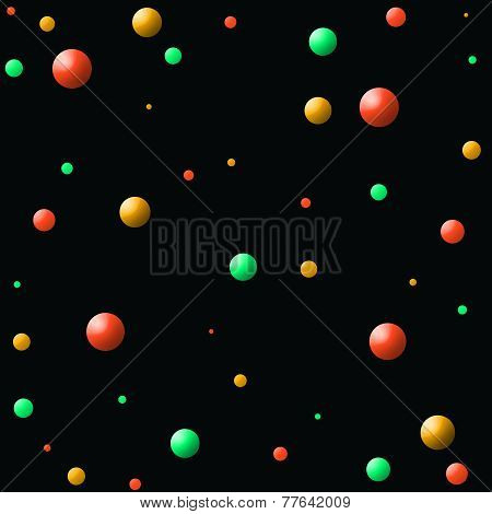Orange-Green-Yellow Balls in Space