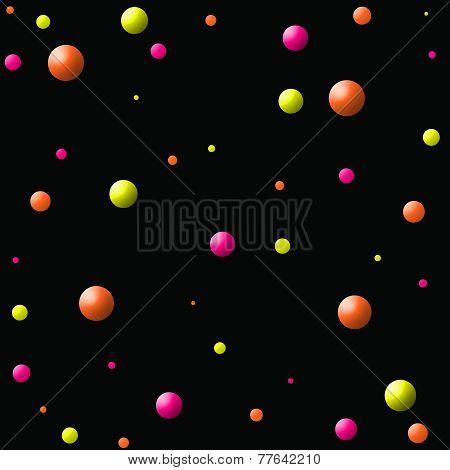 Yellow-Orange-Pink Large Balls in Space
