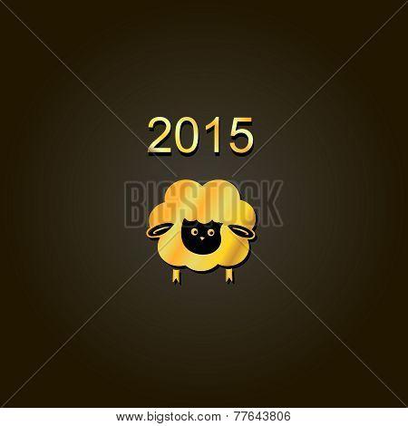 new year lamb golden design Symbol of 2015. Sheep