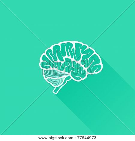 vintage vector illustration of human brain with long shadow