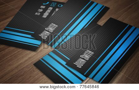 Business card template - creative modern design of blue and dark grey