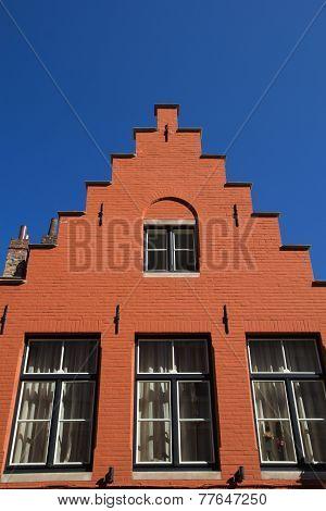 Orange Historic House In Bruges