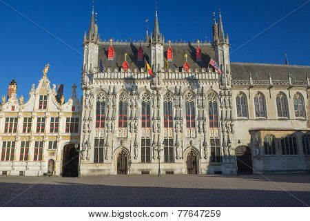 Frint View At The Town Hall In Bruges
