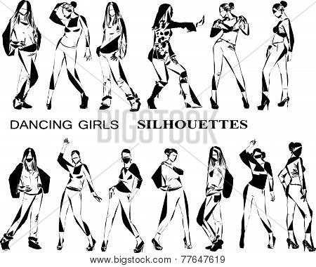 Dancing girls silhouettes, sketch collection