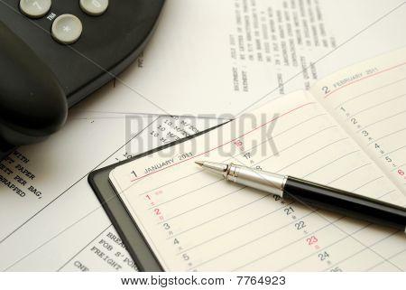 Black Pen On Planner