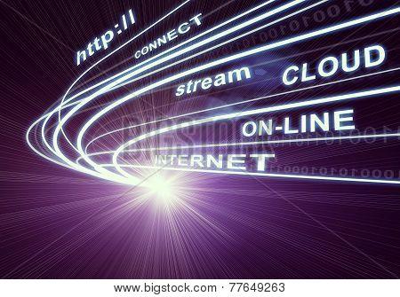 Stream of light beams and words like internet, on-line etc. on dark background