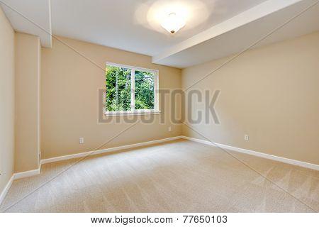 Bright Empty Bedroom In Light Ivory Tone