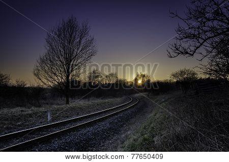 Railway in sundown