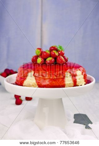 Pancake cake with crean fresh strawberries and souce selective focus