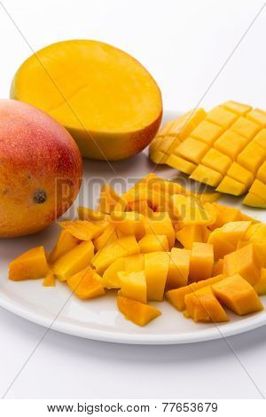 Loose Cubes Of Mango Fruit Flesh And Scored Pulp