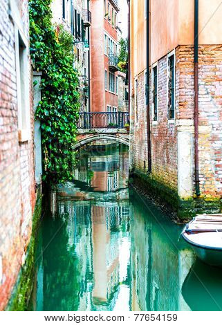 Canal and historic tenements. Venice, Italy