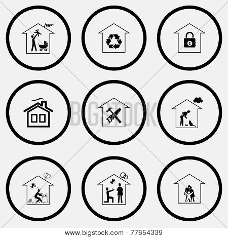 Home set. Black and white set vector icons.
