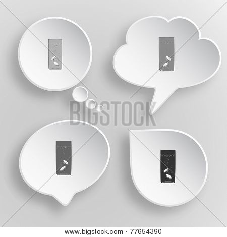 Glass with tablets. White flat vector buttons on gray background.