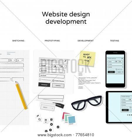 Website development tools isolated on white background - flat design illustration