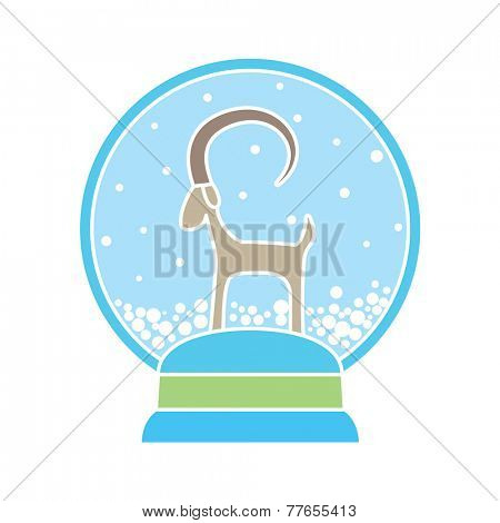 Abstract drawing of glass snowball with goat - symbol of 2015
