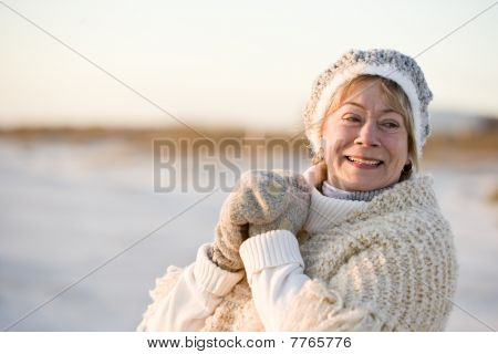 Portrait Of Senior Woman In Warm Winter Clothing