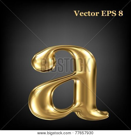 Golden shining metallic 3D symbol lowercase letter a, vector EPS8